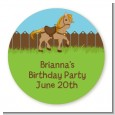 Pony Brown - Round Personalized Birthday Party Sticker Labels thumbnail