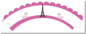 Pink Poodle in Paris - Baby Shower Cupcake Wrappers