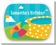 Pool Party - Personalized Birthday Party Rounded Corner Stickers thumbnail