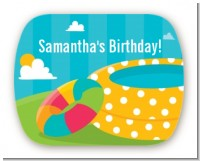 Pool Party - Personalized Birthday Party Rounded Corner Stickers