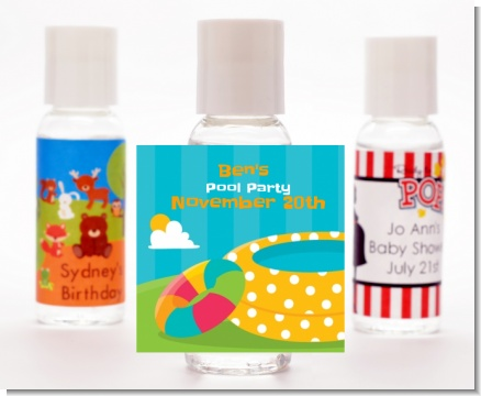 Pool Party - Personalized Birthday Party Hand Sanitizers Favors