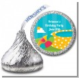 Pool Party - Hershey Kiss Birthday Party Sticker Labels thumbnail