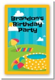 Pool Party - Custom Large Rectangle Birthday Party Sticker/Labels
