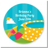 Pool Party - Round Personalized Birthday Party Sticker Labels