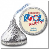 Poolside Pool Party - Hershey Kiss Birthday Party Sticker Labels