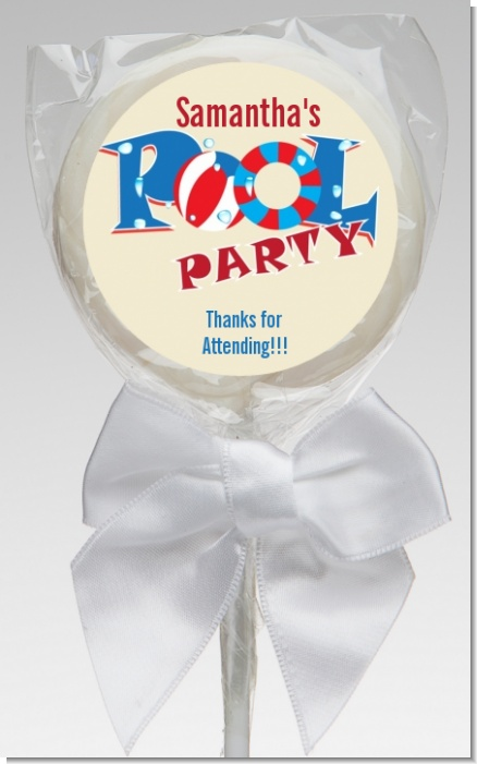 Poolside Pool Party - Personalized Birthday Party Lollipop Favors