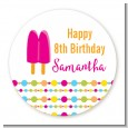 Popsicle Stick - Round Personalized Birthday Party Sticker Labels thumbnail