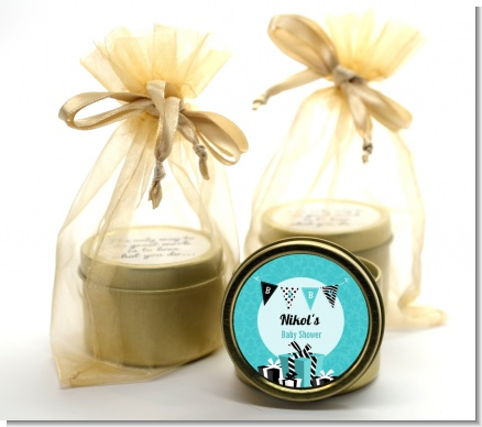 Posh Mom To Be Blue - Baby Shower Gold Tin Candle Favors