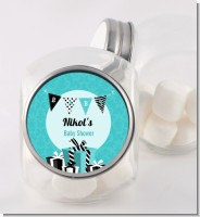 Posh Mom To Be Blue - Personalized Baby Shower Candy Jar