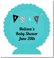 Posh Mom To Be Blue - Personalized Baby Shower Centerpiece Stand