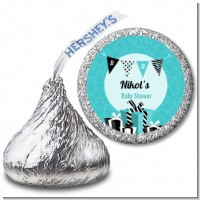 Posh Mom To Be Blue - Hershey Kiss Baby Shower Sticker Labels