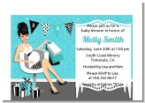 Posh Mom To Be Blue - Baby Shower Petite Invitations