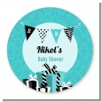 Posh Mom To Be Blue - Round Personalized Baby Shower Sticker Labels thumbnail