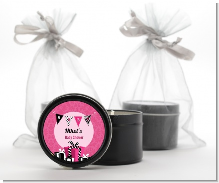 Posh Mom To Be - Baby Shower Black Candle Tin Favors