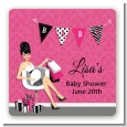 Posh Mom To Be - Square Personalized Baby Shower Sticker Labels thumbnail