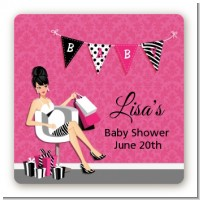 Posh Mom To Be - Square Personalized Baby Shower Sticker Labels
