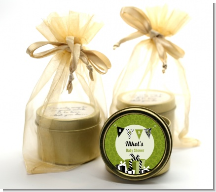 Posh Mom To Be Neutral - Baby Shower Gold Tin Candle Favors