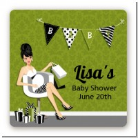 Posh Mom To Be Neutral - Square Personalized Baby Shower Sticker Labels
