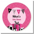 Posh Mom To Be - Round Personalized Baby Shower Sticker Labels thumbnail