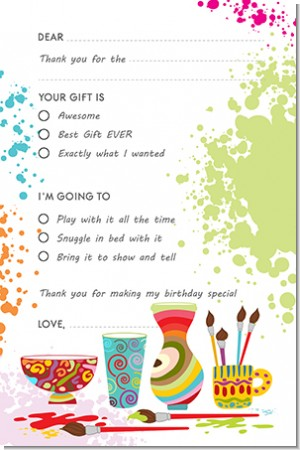Pottery Painting - Birthday Party Fill In Thank You Cards
