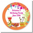 Pottery Painting - Round Personalized Birthday Party Sticker Labels thumbnail