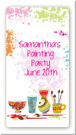 Pottery Painting - Custom Rectangle Birthday Party Sticker/Labels