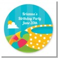 Pool Party - Round Personalized Birthday Party Sticker Labels thumbnail
