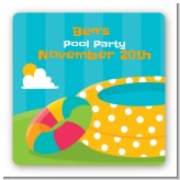 Pool Party - Square Personalized Birthday Party Sticker Labels