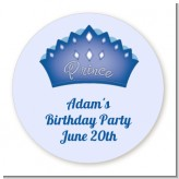 Prince Crown - Round Personalized Birthday Party Sticker Labels