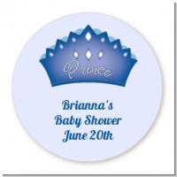 Prince Crown - Round Personalized Baby Shower Sticker Labels