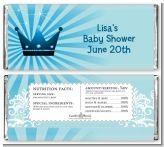 Prince Royal Crown - Personalized Baby Shower Candy Bar Wrappers