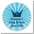 Prince Royal Crown - Round Personalized Baby Shower Sticker Labels thumbnail