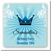 Prince Royal Crown - Square Personalized Baby Shower Sticker Labels
