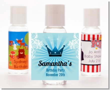 Prince Royal Crown - Personalized Birthday Party Hand Sanitizers Favors