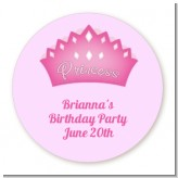 Princess Crown - Round Personalized Birthday Party Sticker Labels