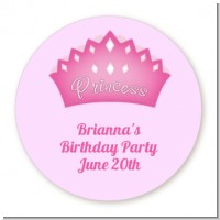 Princess Crown - Round Personalized Baby Shower Sticker Labels