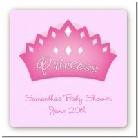 Princess Crown - Square Personalized Baby Shower Sticker Labels