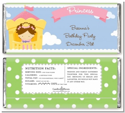 Princess in Tower - Personalized Birthday Party Candy Bar Wrappers