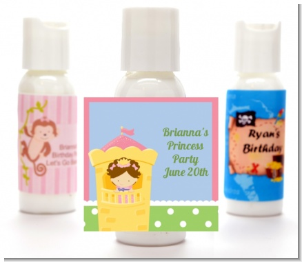 Princess in Tower - Personalized Birthday Party Lotion Favors