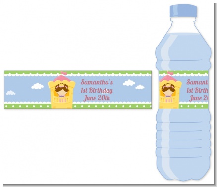 Princess in Tower - Personalized Birthday Party Water Bottle Labels
