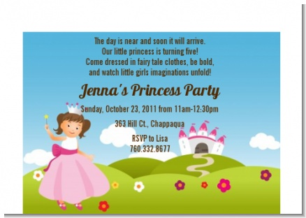 Princess Rolling Hills - Birthday Party Petite Invitations