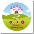 Princess Rolling Hills - Round Personalized Birthday Party Sticker Labels thumbnail