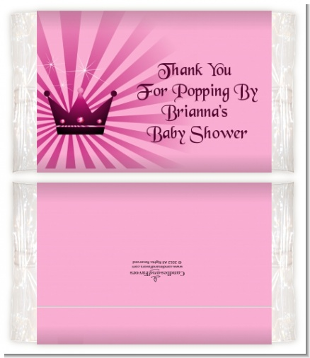 Princess Royal Crown - Personalized Popcorn Wrapper Baby Shower Favors