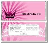 Princess Royal Crown - Personalized Birthday Party Candy Bar Wrappers