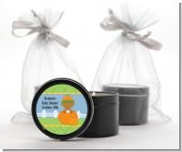 Pumpkin Baby African American - Baby Shower Black Candle Tin Favors