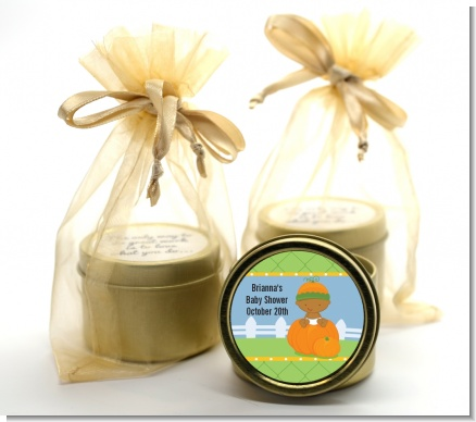 Pumpkin Baby African American - Baby Shower Gold Tin Candle Favors
