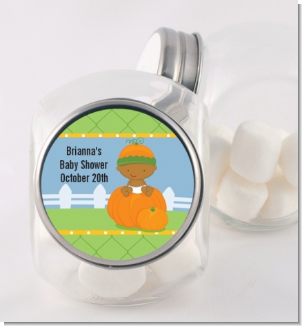 Pumpkin Baby African American - Personalized Baby Shower Candy Jar
