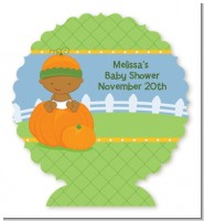 Pumpkin Baby African American - Personalized Baby Shower Centerpiece Stand