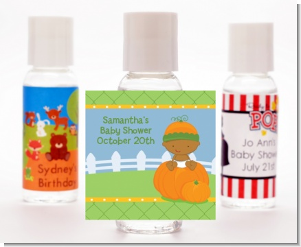 Pumpkin Baby African American - Personalized Baby Shower Hand Sanitizers Favors