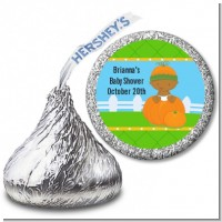 Pumpkin Baby African American - Hershey Kiss Baby Shower Sticker Labels